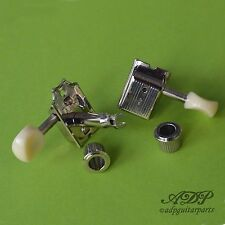 "MECANIQUES VINTAGE KLUSON ""Single Line Deluxe"" Tuners 6L NICKEL Old White Button"