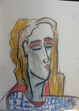 D.Schmidt 30x40 cm retrato pintura abstracto expresivo pastel Dibujo p15