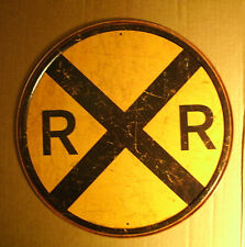Round Tin Sign - RR Railroad - Old Style Train Crossing - Vintage Man Cave Look
