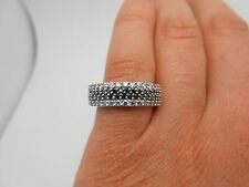Gorgeous 6.5mm Wide 14K White Gold Natural Black & White Diamond Band Ring Sz 7