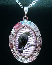Edgar Allan Poe The Raven Silver Locket & Necklace Goth/Steampunk/Victorian