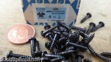 "25 x NETTLEFOLDS GKN 1/2"" x 4  BLACK JAPANNED ROUND HEAD WOOD SCREWS SLOTTED"