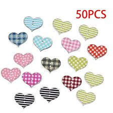 50Pcs Sewing Scrapbooking Multicolor Stripe Dot Heart 2 Holes Wooden Buttons
