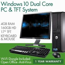 FULL DELL/HP DUAL CORE DESKTOP TOWER PC & TFT COMPUTER SYSTEM WINDOWS 10 & 4GB