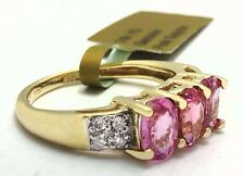 GENUINE 1.83 carats PINK SAPPHIRES & DIAMONDS 14k GOLD RING *New with tag*