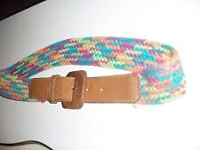 """Brown Leather & Multi colored    Braided BELT 28""""- 32"""""""