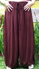 brown pants  harem one size M L XL 1X 2X lagenlook  wide leg hippy boho zn604