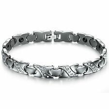 New Elegant Women's Stainless Steel Magnet Energy Magnetic Stone Health Bracelet