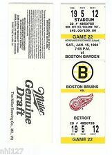 Detroit Red Wings Last Game at Boston Garden NHL Hockey Bruins Unused Ticket