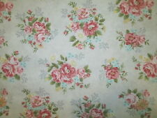 ANTIQUE FLOWERS ROSES VINTAGE FLOWER ROSE LIGHT BLUE COTTON FABRIC FQ