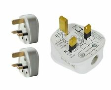 2 X Standard UK 3 Pin 13A 13 Amp Fused Electric Mains Plug Tops Household White