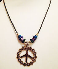 Flower Peace Sign Leather Charm Necklace unique Fashion Jewelry New Great Gift