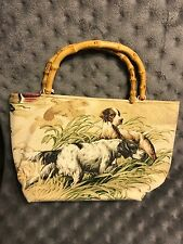 Dog Lovers Rachel & Co NY Hunting Dog Bamboo Handle Handbag Bag Purse
