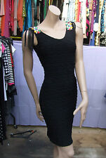 Exquisite French Couture LBD Black Wiggle Dress 8-10 w Colour Crystals & Tassels