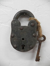 Antique Vintage RUSTIC 65MM Aligarh India Bank Lock Padlock w/Skeleton Key