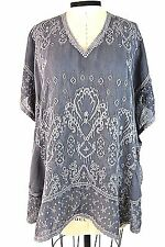$245.00 Johnny Was Tops Gray Bohemian Kimono Top/Blouse Embroidered Kaftan M NWT