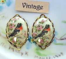 #926X Vintage Bird Connectors Lace Oval Blue Birds Shabby 23mm 14mm NOS Cottage
