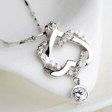 Fashion 925 Silver Double Heart CZ Pendant Necklace Chain Women Wedding Present