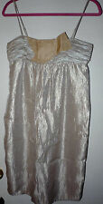 SEXY GOLD BCBG GIRLS COCKTAIL SZ XS DRESS SPAGHETTI STRAPS SILKY SHEER FLING BOW