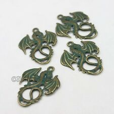 10pcs Imitation Antique Bronze Color Dragon Charms Alloy Pendants Fit Necklace C