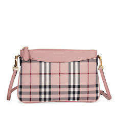 Burberry Horseferry Check and Leather Clutch - Ash Rose/Dusty Pink