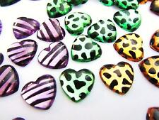 90 Halloween Edition Heart Shape Wild Leopard Flatback Craft Rhinestone Jewel E3