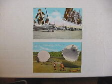 US Army Air Corps WWII Parachute Troops Landing UNUSED COLOR Linen POSTCARDS