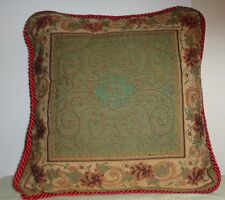 Multicolor Brown Floral Design Tapestry Red Striped Square Pillow Throw Cushion
