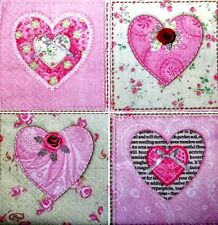NEW Set of 4 Ceramic wall Tiles shabby chic hearts art deco kitchen bedroom Hall