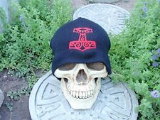 raven head hammer red embroiderd beanie hat thors hammer asatru norse