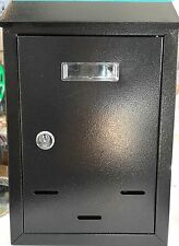 Black Metal Steel Letter Mail Post Box Letterbox Mailbox Outdoor Lockable