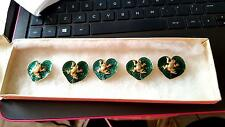 VICTORIAN ENAMEL LILY PAD BUTTONS WITH GOLD FROG SAT UPON IT - STUNNING SET OF 5
