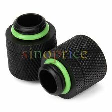 2pcs PC Water Cooling Compression Fitting For 3/8 ID x 1/2 OD Tubing Black