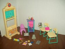 Barbie School House Lot Desk Computer Chalkboard Accessories Cart  Furniture