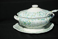 1974 Large Turquoise and Avacado Covered Tureen with Underplate and Ladle