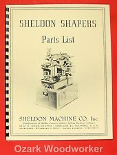 SHELDON Vernon Metal Shaper Parts List Manual 0659