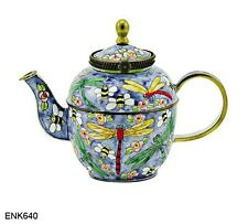 KELVIN CHEN Enamel Mini Copper  Handpaint Teapot - Dragonfly & Bee