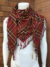 "DIESEL DOUBLE SIDED ""SBLAKET"" PLAID & STRIPE FRINGED TRIANGLE SCARF/WRAP BNWT"