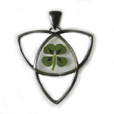 REAL CLOVER SHAMROCK 4-LEAF HEART TRINITY KNOT GOOD LUCK CHARM SILVER PENDANT