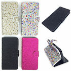Diamante Jewel Sparkle Glitter Sparkly Leather Flip Wallet Phone Case Cover