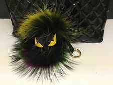US Seller MINI Multi color Monster Keychain Fur Pom Pom Ball Key Ring Bag