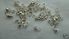 Calottes / necklace ends for jewellery making with loop for 30. Silver  FREE P&P