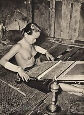 1940 Vintage BORNEO FEMALE NUDE Woman Topless Breasts WEAVING LOOM By K.F. WONG
