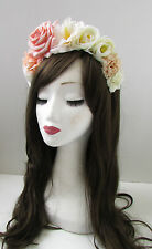 Peach Pink Ivory Cream Rose Flower Hair Crown Garland Headband Vtg Festival W65