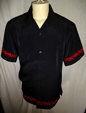 Dragonfly New M Black Embroidered Red Flame Trim Bowling Riding Shirt
