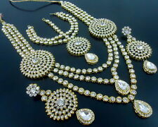 ETHNIC WHITE CZ GOLD TONE RANI HAAR LONG NECKLACE SET BOLLYWOOD BRIDAL JEWELRY