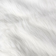 WHITE FAUX FAKE FUR SOLID SHAGGY LONG PILE FABRIC COSTUME COAT 50x155CM