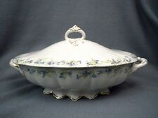Dresden Semi-Porcelain China BLUE PURPLE GREEN FLORAL Covered Vegetabe Dish