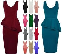 New Womens Side Peplum Bodycon Dress Waist Frill Long Midi Dress Plus Size 8-26