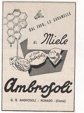 Pubblicità 1955 AMBROSOLI CARAMELLE MIELE SWEET advert reklame werbung publicitè